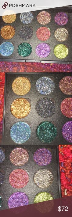 glitter pressed eyeshadow palette‼️ SALE SALE‼️‼️ Every girl should have glitter eyeshadow !come out sparkling with these handmade glitter eye shadows ! All 12 $44 Not sold individually‼️FINAL PRICE NO OFFERS ACCEPTED‼️BUY NOW‼️‼️ Makeup Eyeshadow