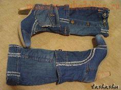 Как сделать джинсовые сапоги