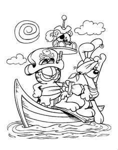 pirate garfield coloring pages