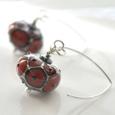 Red and Silver Lampwork Glass Earrings by bstrung on Etsy