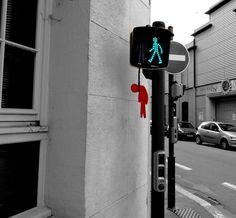 OakOak Likes to Play with Urban Elements - Steet Art
