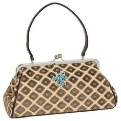 Glenda Gies Jackie Aqua & Chocolate Chenille Diamond Handbag.  Another wonderful shaped bag...