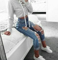 8048932a3a2 cropped sweater cropped lace up high waisted jeans skinny jeans ripped  jeans white sneakers sneakers top grey top jumper lace up jumper grey grey  white