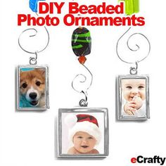 DIY Beaded Photo Ornaments Look what Cheryl whipped up recently! These sweet #beaded #photo #ornaments are easy to make with just a few supplies from eCrafty.com (supplies and links in post).  Aren't these fun? She has the cutest ideas! #diy #crafts #handmade #ornaments #holidays #beading #jewelry-supplies #photo-gifts These are great to make now for the coming holidays ~ These would be just as cute hanging in a window where they can catch the sunlight! Diy Photo Ornaments, Beaded Ornaments, Handmade Ornaments, Handmade Crafts, Diy Crafts, Craft Presents, Christmas Crafts, Christmas Ornaments, Crafty