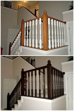 How to Redo an Oak Stair Banister in Java Using Gel Stain, Semi-Domesticated Mama featured on Remodelaholic How would this look on the wood in your house Sarah Hail Stair Banister, Banisters, Diy Stair, Railings, Stair Risers, Black Stair Railing, Curved Staircase, Home Renovation, Home Remodeling