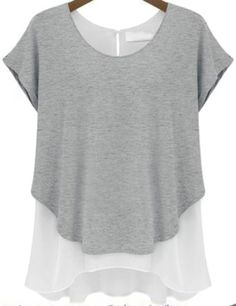 Grey Contrast Chiffon Split Short Sleeve T-Shirt - Fashion Clothing, Latest Street Fashion At Abaday.com