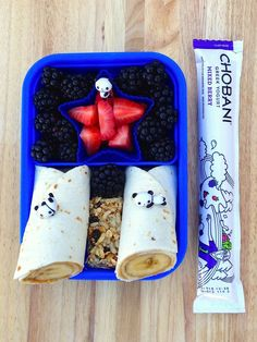 Have breakfast for lunch or just breakfast for breakfast!  Peanut butter and banana wraps are a filling start to the day and Chobani Kids Tubes add extra protein for a great meal. (Sp)