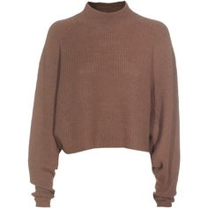 ACNE Darko Alpaca Brown Cropped knit sweater (1,060 GTQ) ❤ liked on Polyvore featuring tops, sweaters, shirts, jumpers, cropped knit sweater, long-sleeve crop tops, brown sweater, knit sweater and short sleeve tops