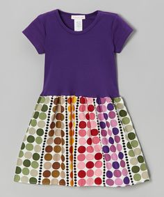 Take a look at this Purple Palette Polka Dot A-Line Dress - Infant, Toddler & Girls on zulily today!
