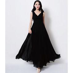 vestido maxi de la gasa del v-cuello de las mujeres - USD $ 25.50