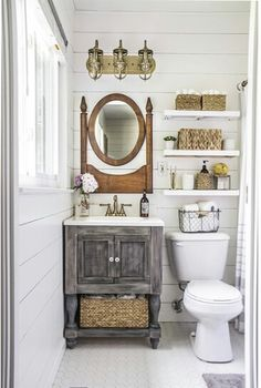 Master Bathroom Makeover Reveal With DIY Vanity, Floating Shelves, Shiplap,  And New Tile.