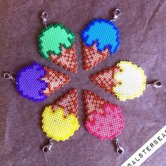 Hama bead ice cream cones by @alsterbead