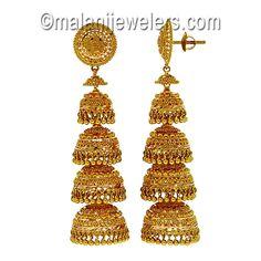 22 Karat Gold Elegant Jumki. SKU # 82-01184 http://www.malanijewelers.com/goldlongearrings.aspx?size=18