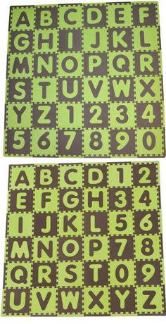 Tadpoles 36 Sq Ft ABC Floor Mat, Green/Brown - cpmsev518 Features: -Soft safe and durable.-Made of large, interlocking foam puzzle pieces with removable letters and numbers.-Easy care and cleaning. Includes: -Includes 36 foam pieces with 36 remova... - Kids' Room Décor - Baby - $22.77