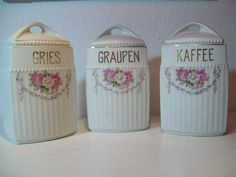 3 x Vorratsdose mit Deckel Porzellan Art Déco & Gries Graupen Kaffee Art Deco, Dose, Jar, Design, Kaffee, Kunst, Jars, Glass