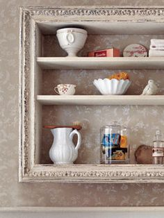 Build shelves with old picture frame.