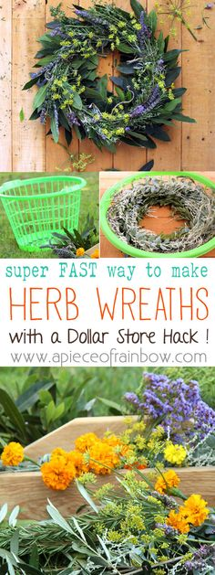 Make Wreath Fast & Easy: A Dollar Store Hack: Forget about wreath forms and fancy supplies…  This dollar store hack will enable you to make wreath lightning fast, with just botanical clippings and natural jute twine.  We are going to transform a dollar store laundry basket into 2 wreath makers, which can be used again and again! - A Piece Of Rainbow