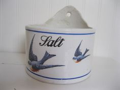 HTF Vintage China BLUEBIRDS Porcelain SALT BOX Antique