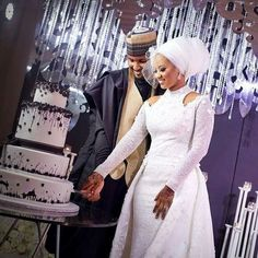 Hauwa Indimi and Mohammed Yar'adua Magnificent Wedding ~ My Afro Caribbean Wedding Nigeria African Lace Styles, African Lace Dresses, Latest African Fashion Dresses, African Clothes, Muslim Brides, Pakistani Wedding Dresses, Muslim Couples, Wedding Hijab, African Traditional Wedding Dress
