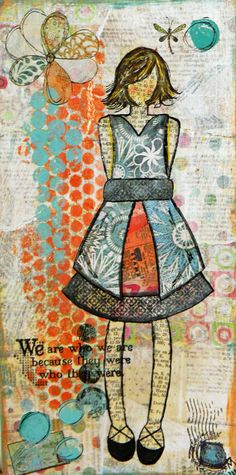 ... based on the She Art workshop by Christy Tomlinson. Love the use of book pages in this piece.