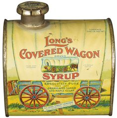 Buy online, view images and see past prices for Extremely Rare Long's Covered Wagon Syrup Tin. Invaluable is the world's largest marketplace for art, antiques, and collectibles. Vintage Bottles, Vintage Tins, Vintage Labels, Antique Bottles, Tin Can Alley, Pot Pourri, Covered Wagon, Vintage Packaging, Tin Containers