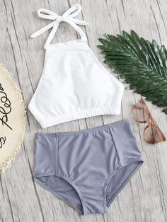 Shop Mix And Match High Neck Bikini Set online. SheIn offers Mix And Match High Neck Bikini Set & more to fit your fashionable needs. Bikinis Tumblr, Best Swimwear, Swimwear Sale, Discount Swimwear, Romwe Swimwear, Sporty Swimwear, Sporty Bikini, Swimsuits For Tweens, Bikini Swimsuit