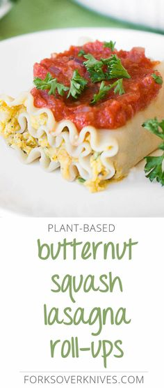 This vegan lasagna roll-up recipe is a great plant-based twist on the classic version. Butternut squash and navy beans come together to make a creamy... Veggie Recipes, Whole Food Recipes, Vegetarian Recipes, Cooking Recipes, Healthy Recipes, Plant Based Whole Foods, Plant Based Eating, Butternut Squash Lasagna, Lasagna Rolls