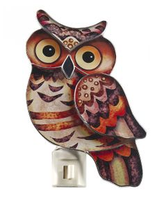 Brown & Red Rustic Owl Night-Light