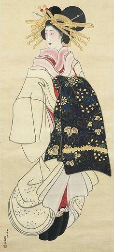 Courtesan - hanging scroll, ink and color on paper. by artist Utagawa Yoshimori. Japanese Artwork, Japanese Prints, Art Chinois, Geisha Art, Japan Painting, Traditional Japanese Art, Japanese Illustration, Samurai, Art Japonais