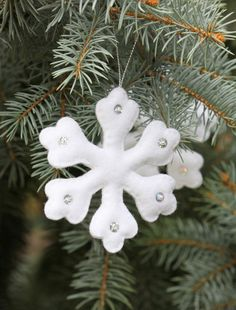 Snowflake Christmas ornaments, Felt Snowflake, Christmas tree decoration, Set of 5 Snowflake