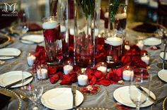 Love the idea, although seems like it uses a lot of special glasses and rose petals.  It sure is a beautiful table centerpiece, though!!