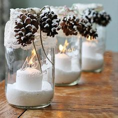 Magical Christmas Mason Jars We Can't Wait to Make Mason Jar Christmas Crafts - Christmas Crafts - Country Living Mason Jar Christmas Crafts, Mason Jar Crafts, Mason Jar Diy, Christmas Projects, Holiday Crafts, Christmas Holidays, Christmas Decorations, Christmas Candles, Magical Christmas