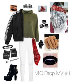 """BTS 8th Member MIC Drop MV #1"" by divinebeatzx on Polyvore featuring mode, AG Adriano Goldschmied, AMIRI, Topshop, adidas, Funk Plus, Thomas Sabo en Miss Selfridge"