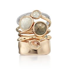 Siren Wide Band in 18ct Rose Gold Plated Vermeil on Sterling Silver with White Topaz   Jewellery by Monica Vinader