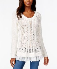 American Rag Open-Knit Ruffle-Trim Pullover Tunic Sweater, Only at Macy's
