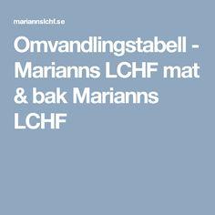 Omvandlingstabell - Marianns LCHF mat & bak Marianns LCHF