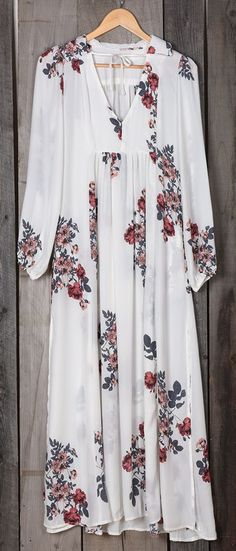 White Floral Pattern V-neck Fashion Cotton Maxi Dress