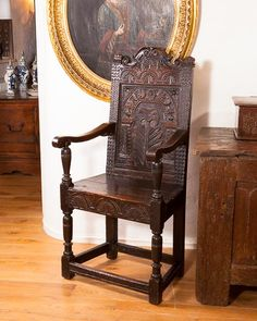 early 17th century carved oak wainscot chair & An American Cromwell chair. Love the surface. 17th century | Antique ...