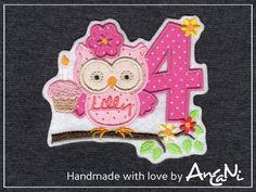 Aufnäher Geburtstags Eule m. Namen & Zahl (1-10) von AnCaNi auf DaWanda.com