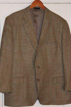 Burberry Wool Silk Linen Sport Coat Jacket Blazer 2 Button Windowpane Men's 46R #Burberry #TwoButton
