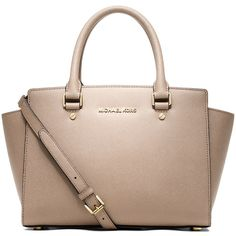 MICHAEL Michael Kors Selma Medium Satchel Bag ($298) ❤ liked on Polyvore featuring bags, handbags, blush, zipper purse, medium satchel handbags, handle bag, monogrammed bags and satchel handbags