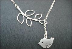 Silver Bird Branch Pendant Necklace