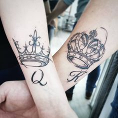 King and queen tattoos are some of the best expressions of love and commitment. Browse these king and queen tattoo designs. Crown Tattoos For Women, Tattoos For Women Half Sleeve, Sleeve Tattoos, Chess Piece Tattoo, Pieces Tattoo, Family Tattoos, Couple Tattoos, King Tattoos, Body Art Tattoos