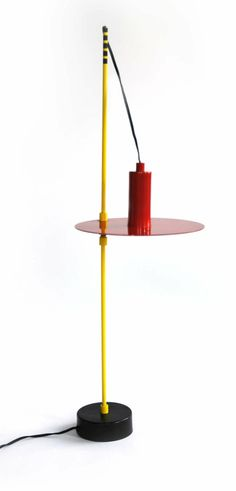 1980s Lamps   Red, Yellow and Black Lamp 1980's