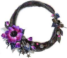 """Купить Колье """"Сад ночной феи"""" - анемон, анемоны, пурпурный, пурпурный цвет, фуксия"""