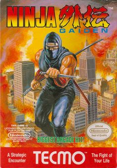 Ninja Gaiden - NES (A strategic encounter...) Vintage Video Games, Classic Video Games, Retro Video Games, Vintage Games, Video Game Art, Retro Games, Nes Games, Nintendo Games, Arcade Games