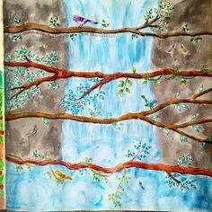 Como fazer água da cachoeira Livro Jardim Secreto por @jessicasantin how to paint waterfall Secret garden coloring book