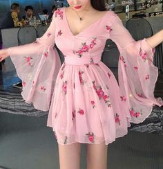Blvyisla Pink Fairy Lady Mini Dress Slim Women Deep V Flower Sweet Ruffled Summer Holiday Dresses Night Party Lolita Vestidos Pretty Dresses, Beautiful Dresses, Cheap Pink Dresses, Summer Holiday Dresses, Homecoming Dresses, Korean Fashion, Designer Dresses, Ideias Fashion, Short Dresses