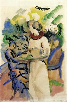 August Macke (German, 1887-1914)  'Afternoon in the Garden'