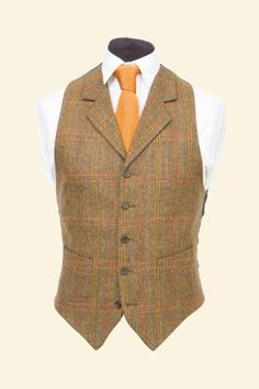 Expensive, but great!! Amber Multicheck Vintage Shetland Tweed Patrick Waistcoat